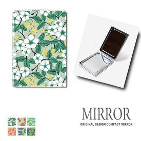 折りたたみ 鏡 ミラー 花柄 フラワー リバティプリント 卓上ミラー 化粧鏡 かがみ コンパクトミラー かわいい メイク用 拡大鏡 拡大 両面 角型 ズーム