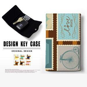 キーケース 4連 キーホルダー 切手 スマートキー メンズ レディース かわいい 鍵入れ キーリング キーチェーン カード入れ 鍵 フェイクレザー 合皮 プリント