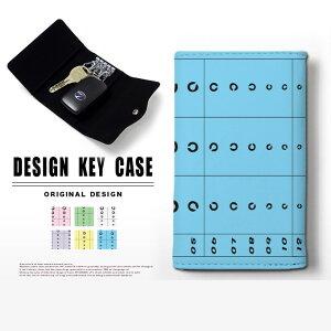 キーケース 4連 キーホルダー テスター 視力検査 スマートキー メンズ レディース かわいい 鍵入れ キーリング キーチェーン カード入れ 鍵 フェイクレザー 合皮 プリント ネタ