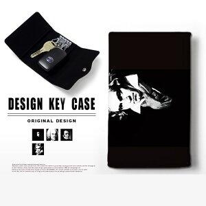 キーケース 4連 キーホルダー 白黒 モノクロ 音楽 作曲家 スマートキー メンズ レディース かわいい 鍵入れ キーリング キーチェーン カード入れ 鍵 フェイクレザー 合皮 プリント