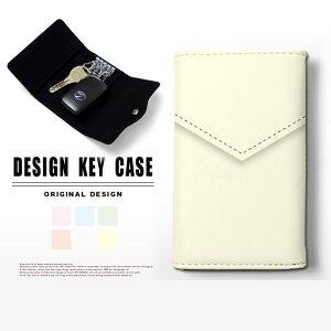 キーケース 4連 キーホルダー レター 手紙 スマートキー メンズ レディース かわいい 鍵入れ キーリング キーチェーン カード入れ 鍵 フェイクレザー 合皮 プリント