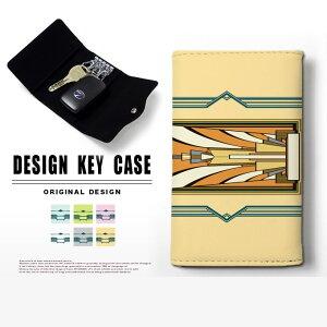 キーケース 4連 キーホルダー アートデコ アールデコ スマートキー メンズ レディース かわいい 鍵入れ キーリング キーチェーン カード入れ 鍵 フェイクレザー 合皮 プリント