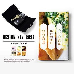 キーケース 4連 キーホルダー フード フォト スマートキー メンズ レディース かわいい 鍵入れ キーリング キーチェーン カード入れ 鍵 フェイクレザー 合皮 プリント