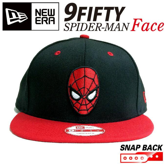 ニューエラ スナップバック キャップ【SPIDER-MAN】【FACE】spidermanスパイダーマン フェイス 【親子ペア2】ブラック 黒 アメリカ コミック コラボ 顔 レッド NEWERA 帽子 ニューエラ 9FIFTY 950 ストレートキャップ 激安6