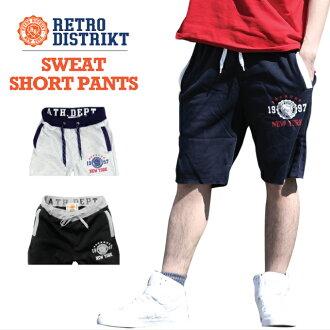 (庫存L~XL)RETRO DISTRIKT suuettoshotopantsuretorodisutorikuto SWEAT SHORT PANTS印刷標識腰身帶子NEW YORK US尺寸男子的大的尺寸