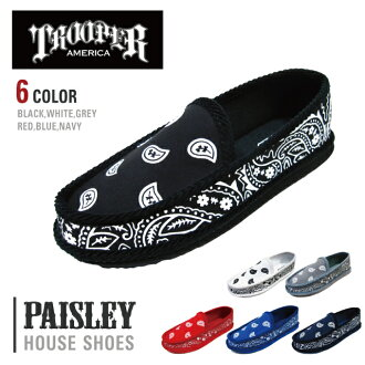 TROOPER 신발 트루 퍼 SHOES 페이 즐 리 무늬 하우스 신발 대형 손수건 PAISLEY BANDANA HOUSE SHOES