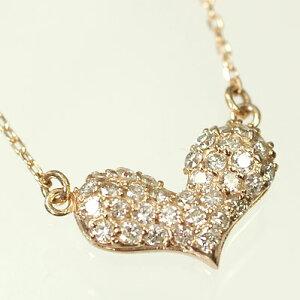 ダイヤモンド ネックレスピンクゴールド ネックレス K10PG・ダイヤ0.33ct ハートパヴェペンダント(ネックレス)