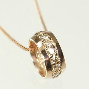 ダイヤモンド ネックレス ピンクゴールド K18PG・ダイヤモンド0.2ct エタニティーペンダント(ネックレス)