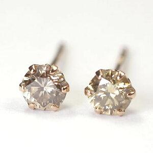 ダイヤモンド ピアス ピンクゴールド 一粒 K18PG・ブラウンダイヤモンド0.3ct スタッドピアス(ピンクゴールド)