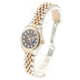 ロレックス デイトジャスト 179171G ランダム 自動巻 SS ステンレススチール K18/18金ピンクゴールド 10Pダイヤ 黒文字盤 レディースウォッチ ブランドウォッチ 時計 腕時計 レディース腕時計【中古】