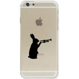 iPhone8/Xを始めiPhone全シーリーズ対応ケース カバー アイフォン スマホケース ポリカーボネイト ハードケース クリアケース うさぎとトランペット【メール便可能】【メール便可能】