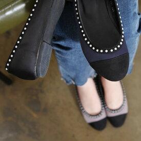 パンプス ローヒール フラットシューズ ぺたんこ ペタンコ 結婚式 ビーズ 黒 ブラック レディース 婦人靴 歩きやすい 痛くない バレエシューズ