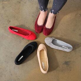 バレエシューズ フラットシューズ パンプス スエード リボン レディース ぺたんこ 靴 婦人靴 黒 ブラック 歩きやすい