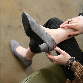 パンプス レディース ローヒール スエード 太ヒール ラウンドトゥ 黒 ブラック ベージュ 婦人靴 痛くない 歩きやすい