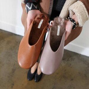 バブーシュ ファー ローファー レディースシューズ ローヒール スリッパ フラットシューズ サンダル 黒 ブラック ブラウン 靴 歩きやすい シンプル