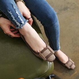 パンプス ローヒール フラットシューズ ぺたんこ ペタンコ バックル 黒 ブラック レディース 婦人靴 歩きやすい 痛くない バレエシューズ