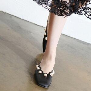 サンダル レディースシューズ フェイクパール ローヒール スリッパ 黒 ブラック ホワイト 靴 歩きやすい