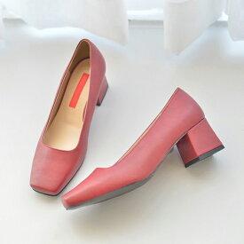 パンプス ローヒール 太ヒール スクエアトゥ 黒 ブラック ホワイト グレー レディース 靴 婦人靴 歩きやすい 痛くない