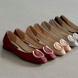 パンプス バックル ヒール レディース ローヒール 靴 婦人靴 黒 ブラック ワインレッド グレー 歩きやすい 痛くない