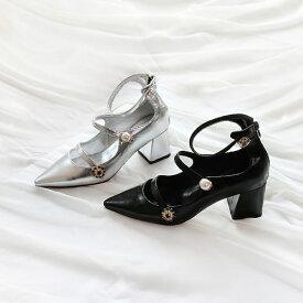 パンプス シルバー フェイクパール モチーフ アンクルストラップ フロントストラップ レディース ローヒール 太ヒール 黒 ブラック 靴 婦人靴 歩きやすい