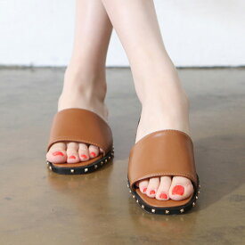 サンダル レディース スタッズ フラット ぺたんこ 黒 ブラック ホワイト 白 ブラウン 婦人靴 痛くない 歩きやすい
