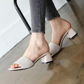 サンダル レディース ミュール 黒 ブラック アイボリー ベージュ ピンク ブルー グレー 牛革 太ヒール ローヒール 婦人靴 痛くない 歩きやすい