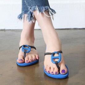 サンダル レディース トング フラット ぺたんこ 黒 ブラック ブルー レッド 婦人靴 痛くない 歩きやすい
