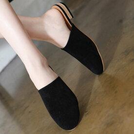 サンダル レディース フラット ぺたんこ 黒 ブラック グレー ベージュ 靴 婦人靴 歩きやすい セーム革