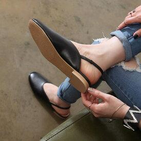 パンプス ローヒール フラットシューズ バックストラップ ぺたんこ ペタンコ 黒 ブラック ベージュ ホワイト レディース 靴 婦人靴