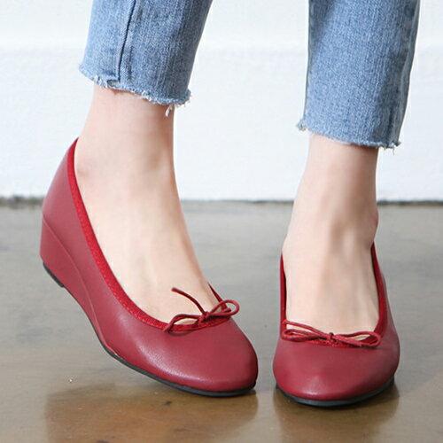 バレエシューズ ウェッジソール パンプス リボン レディース 靴 婦人靴 黒 ブラック グレー レッド オレンジ イエロー 歩きやすい 痛くない