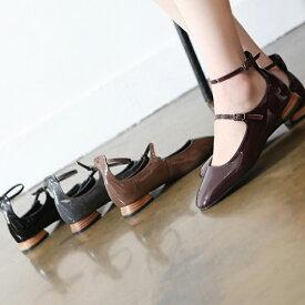 パンプス レディース ローヒール フロントストラップ アンクルストラップ 靴 婦人靴 黒 ブラック ブラウン グレー レッド 歩きやすい 痛くない