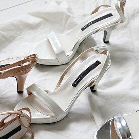 サンダル レディースシューズ ヒール シルバー アンクルストラップ バックストラップ ブラック シルバー ニッケル ピンクベージュ ホワイト 靴 歩きやすい