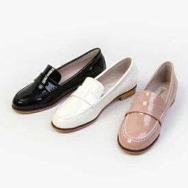 ローファー レディースシューズ おじ靴 エナメル ブラック 黒 ピンク アイボリー オックスフォード ぺたんこ 婦人靴 シンプル