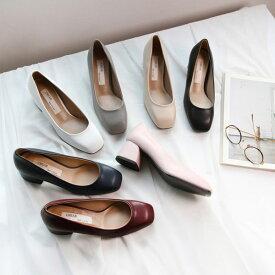 パンプス ローヒール フラットシューズ ネイビー ピンク ワインレッド グレー ホワイト 黒 ブラック ベージュ レディース 靴 婦人靴