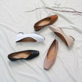 パンプス フラットシューズ ぺたんこ ペタンコ 黒 ブラック 白 ホワイト スクエアトゥ レディース 靴 婦人靴 歩きやすい 痛くない ローヒール