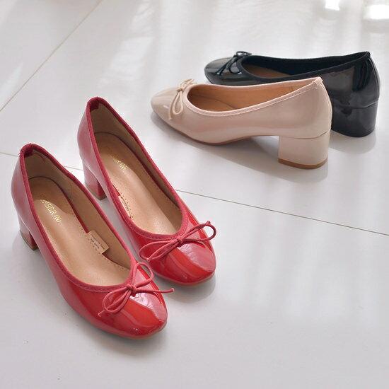 バレエシューズ ヒール パンプス リボン レディース 太ヒール 靴 婦人靴 黒 ブラック ベージュ レッド 歩きやすい