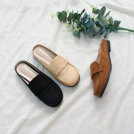 バブーシュ サンダル ローファー レディースシューズ スリッパ フラット 黒 ブラック ベージュ ブラウン 靴 歩きやすい