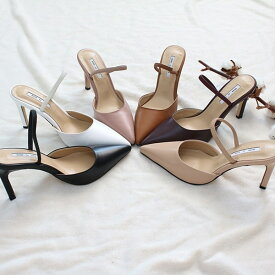 パンプス レディース フロントストラップ ヒール 黒 ブラック ベージュ ピンク ワインレッド 婦人靴 痛くない 歩きやすい サンダル