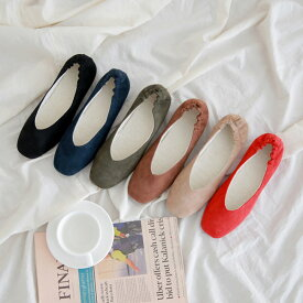 パンプス スエード レディース フラットシューズ 黒 ブラック ベージュ レッド ネイビー カーキー 婦人靴 痛くない 歩きやすい