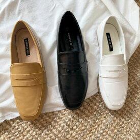 ローファー レディースシューズ おじ靴 革靴 ブラック 黒 白 ホワイト ベージュ オックスフォード ぺたんこ 婦人靴 シンプル