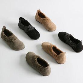 フラットシューズ ファー スエード モコモコ レディースシューズ ブラック 黒 ブラウン カーキー ぺたんこ 婦人靴 シンプル