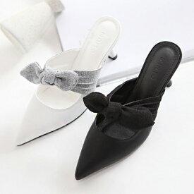パンプス リボン ミュール ローヒール 黒 ブラック ホワイト レディース 靴 婦人靴