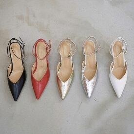 サンダル レディース アンクルストラップ シルバー ゴールド 黒 ブラック ホワイト ローヒール 婦人靴 歩きやすい 結婚式 パンプス