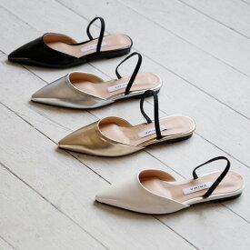 サンダル レディース フラット リボン ぺたんこ フロントストラップ 黒 ブラック シルバー ゴールド 婦人靴 歩きやすい パンプス スリッパ