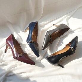 パンプス レディース フロントストラップ ローヒール 黒 ブラック グレー ネイビー ワインレッド 婦人靴 痛くない 歩きやすい
