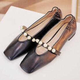 パンプス フェイクパール フラットシューズ フロントストラップ レディース ぺたんこ ペタンコ 靴 婦人靴 黒 ブラック