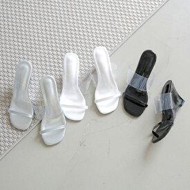 サンダル レディース ウェッジソール PVC ブラック シルバー ホワイト 靴 婦人靴 太ヒール