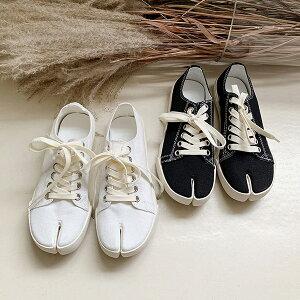足袋スニーカー レディース 先割れ 足袋 ブラック ホワイト スリッポン カジュアル 婦人靴 レディースシューズ 黒 白