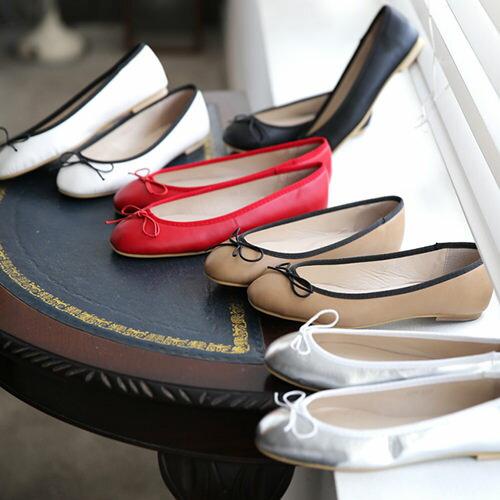 フラットシューズ パンプス リボン レディース バレエシューズ ぺたんこ ペタンコ 靴 婦人靴 黒 ブラック シルバー レッド