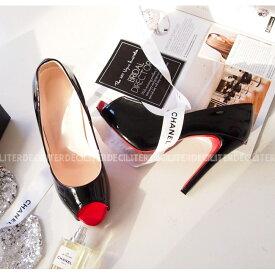 パンプス エナメル オープントゥ エナメル 黒 ブラック ベージュ レディースシューズ ハイヒール 婦人靴 痛くない 歩きやすい レッドソール 05P03Dec16